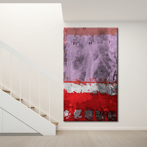 Vertical abstract painting mauve and red