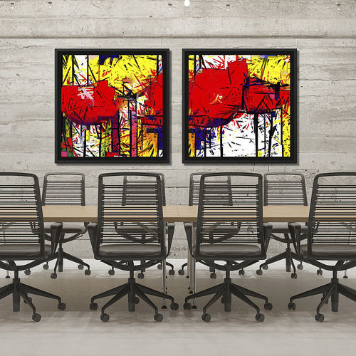 Flower pictures with red and yellow frame