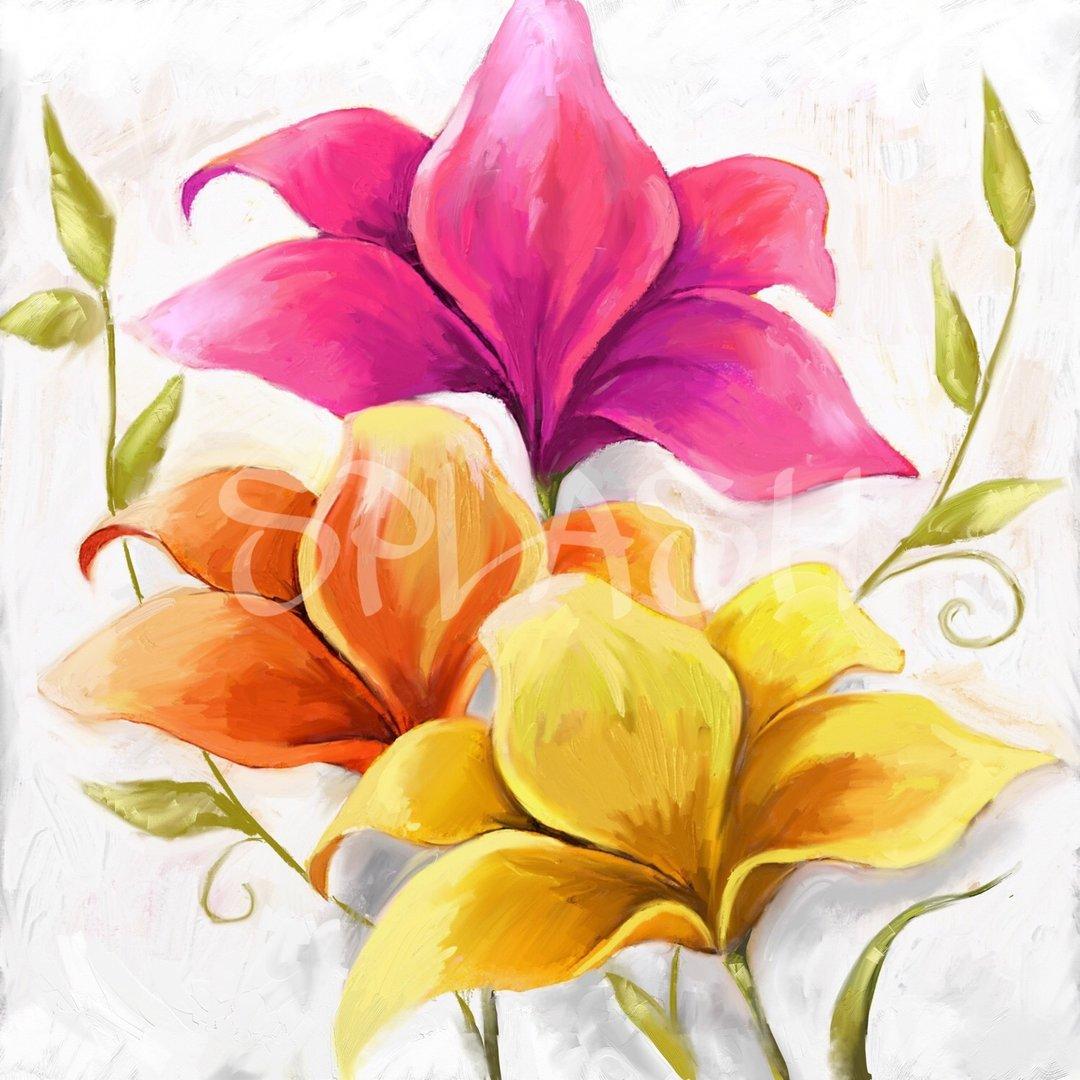 Cuadro de flores de colores tiendas de cuadros modernos for Comprar cuadros al oleo