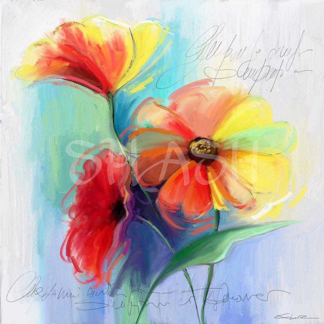 Cuadro de flores de color tiendas de cuadros modernos - Cuadros modernos con mucho color ...