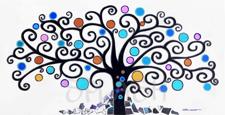 Cuadros Arbol De La Vida-colores Azulados