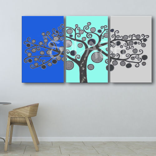 Blue, turquoise, grey and silver SP804 Tree of Life painting