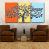 Tree of Life Triptych orange, yellow, turquoise and silver SP805