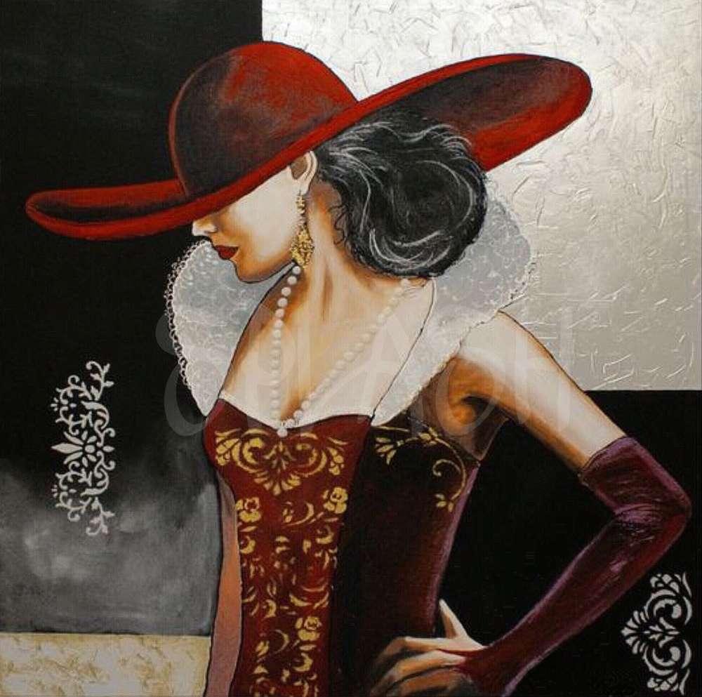 Cuadros Figurativos damas mujer con sombrero Plata rojo   Cuadros ...