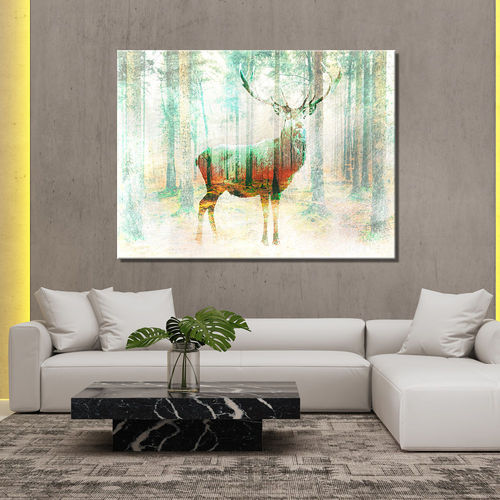 Vintage forest deer painting