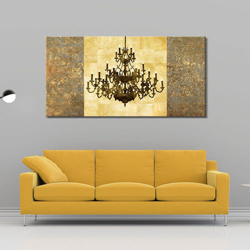 Ochre and gold classic lamp painting