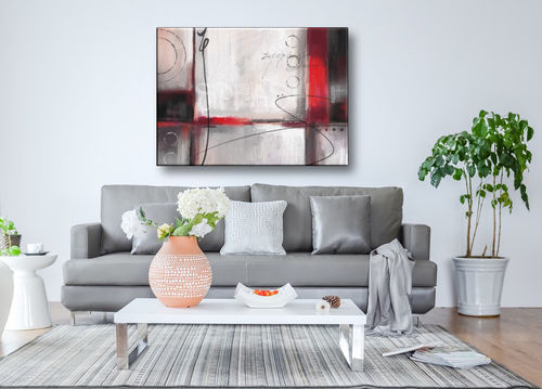 Red and Gray Abstract Painting