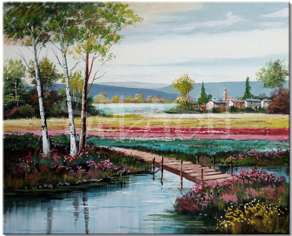 Cuadros paisajes campestres con pueblo y r o cuadros - Cuadros pintados a mano online ...