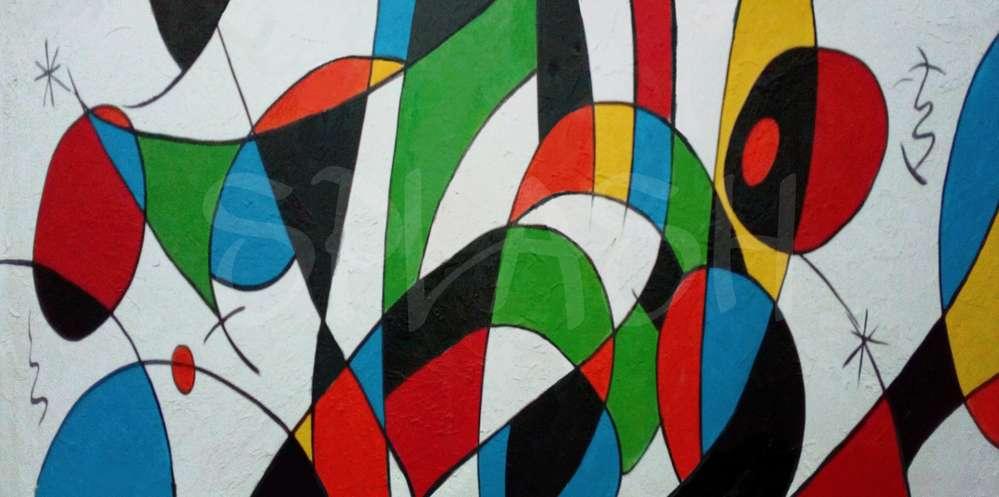 Cuadros abstractos de colores rojo amarillo negro verde y azul ...