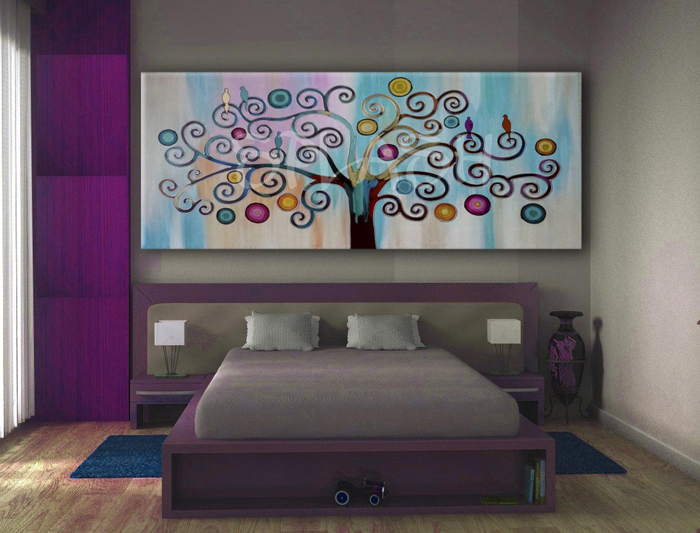 Cuadros rbol de la vida turquesa y magenta para salones y dormitorios cuadros modernos splash - Cuadros para dormitorios modernos ...