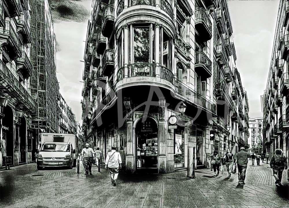 Cuadros urbanos de ciudades Barcelona escena blanco y negro|Cuadros ...