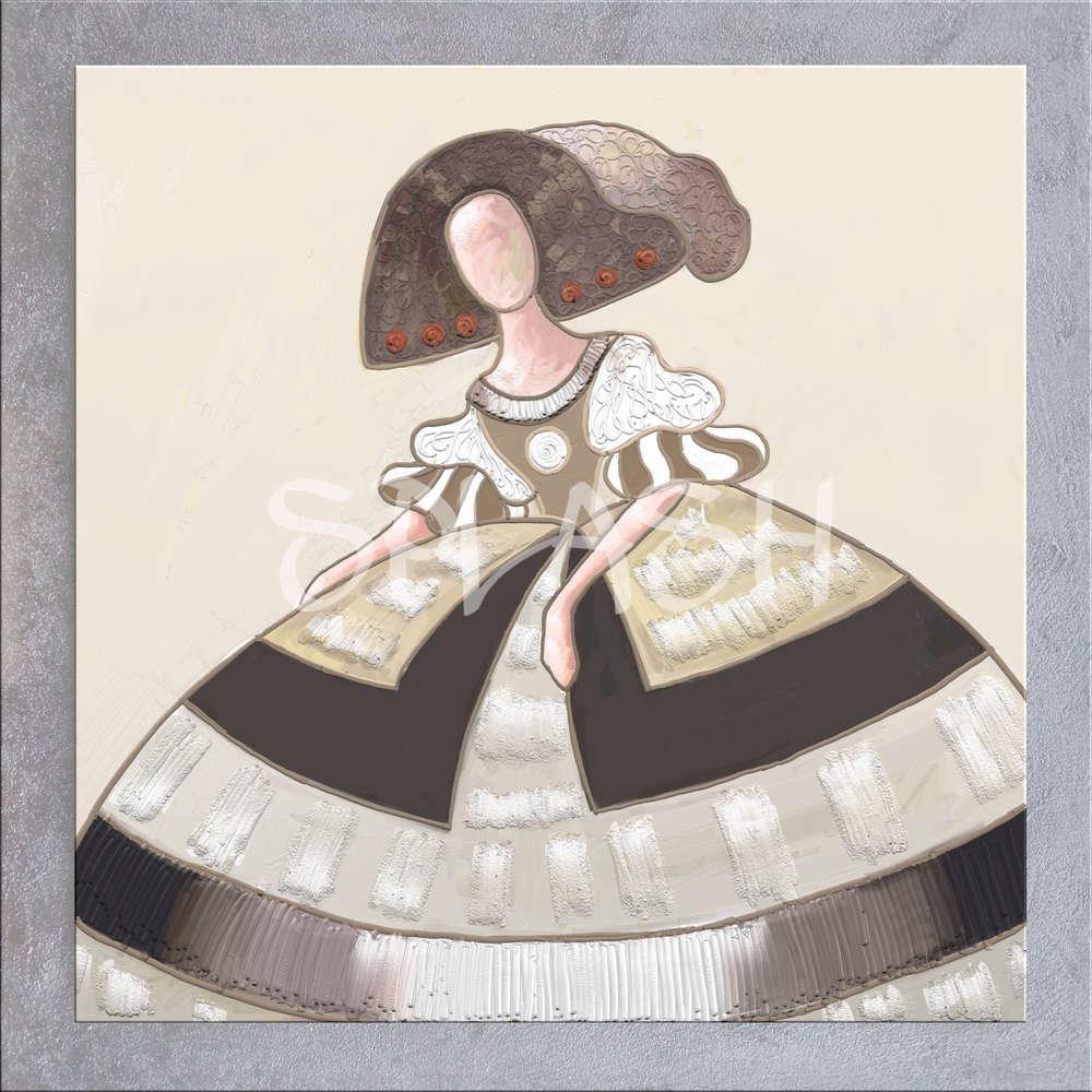 Cuadros Meninas Modernas colores terracota marco plata pintados ...