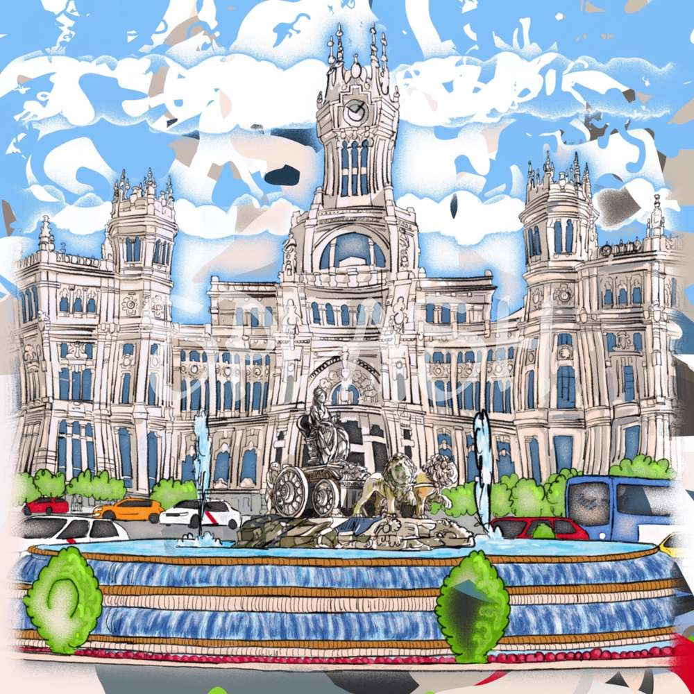 Cuadros y escenas de Madrid Cibeles modernos cómic|Cuadros Splash de ...
