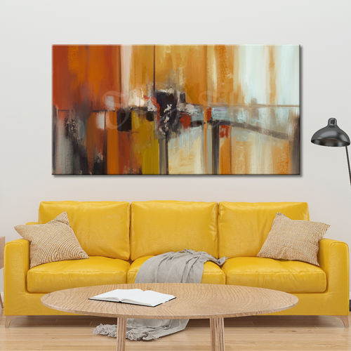 Abstract painting in warm colours