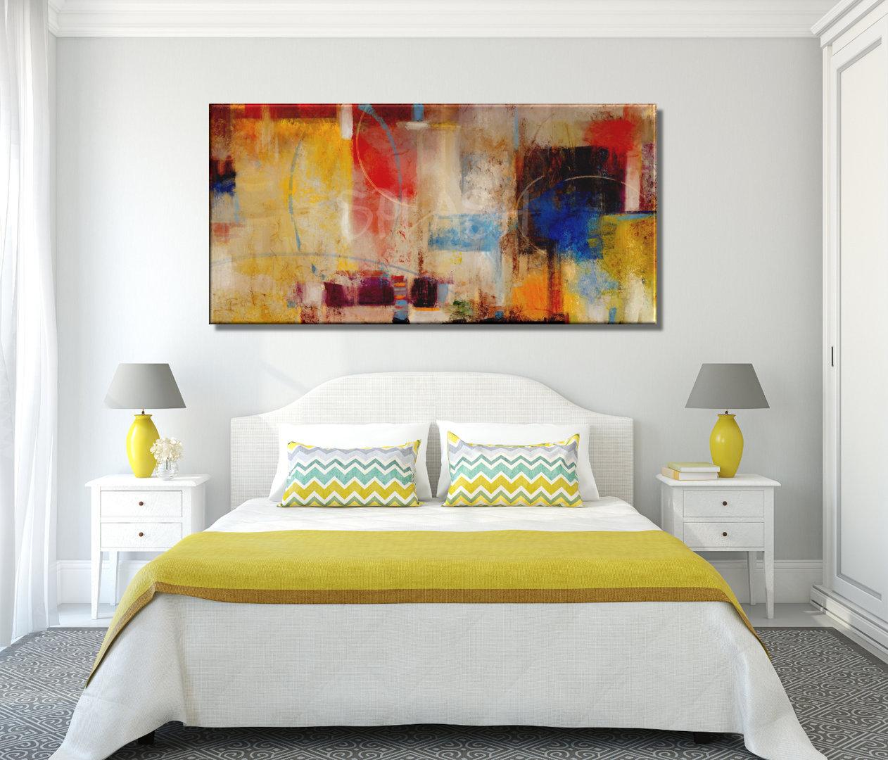 Cuadros abstractos modernos pintados coloridos grandes - Cuadros abstractos para salon ...