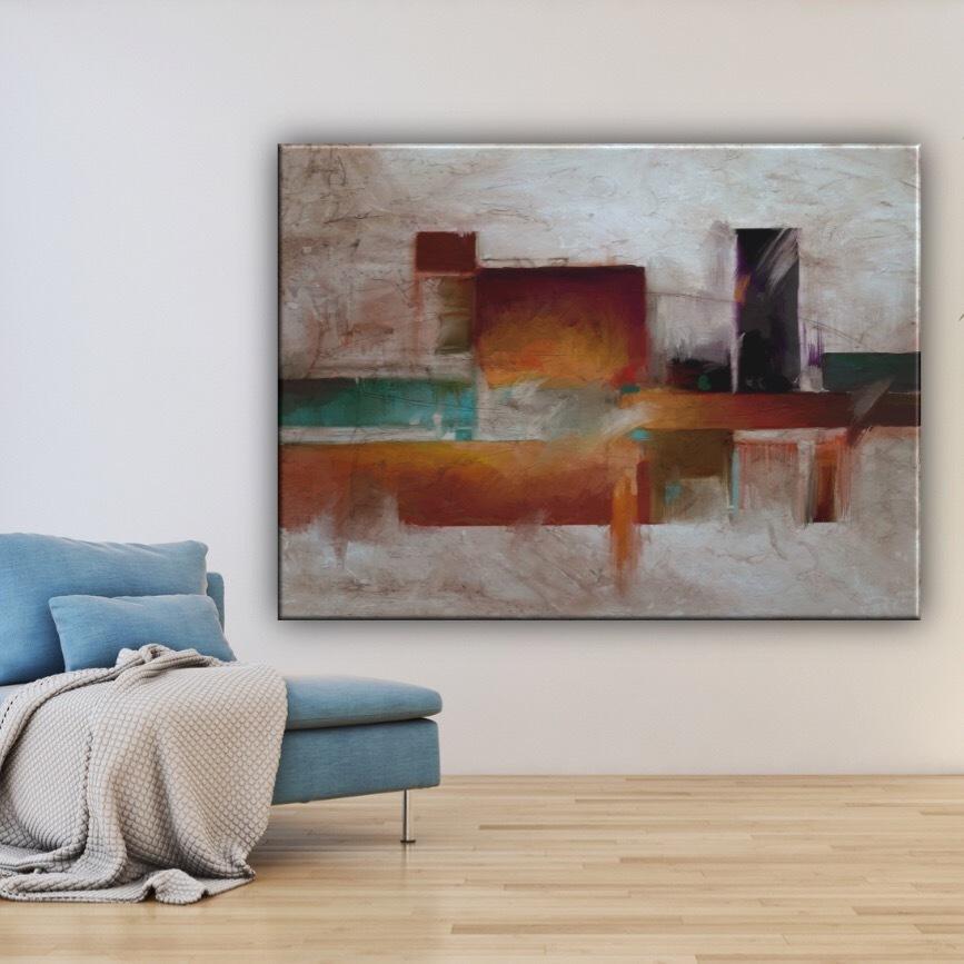 Cuadros modernos abstractos formas geom tricas naranja marrones cuadros splash grandes pintados - Cuadros juveniles modernos ...