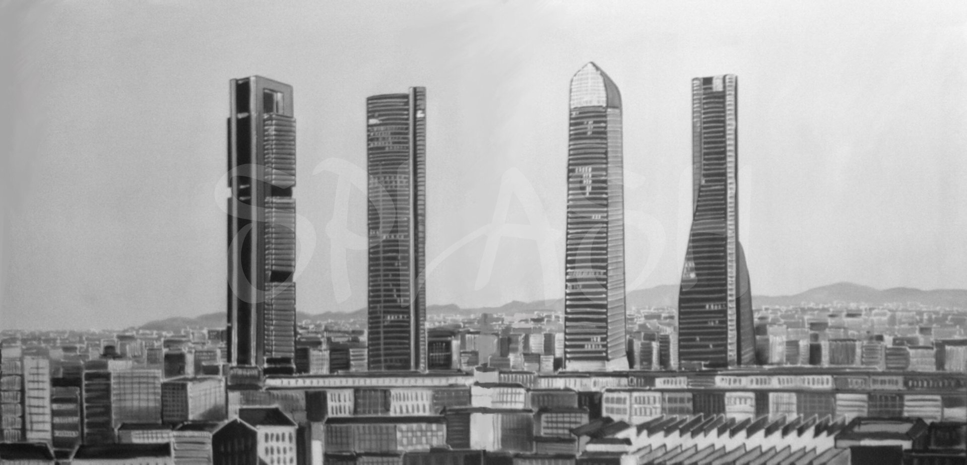 Black And White Madrid black and white painting of madrid towers |splash paintings