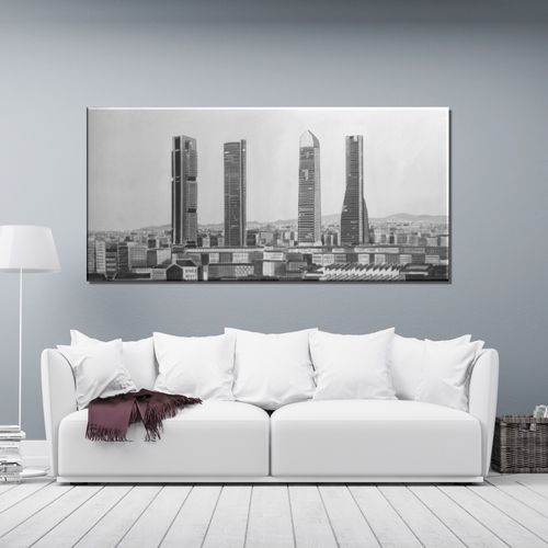 Black and white painting of Madrid towers