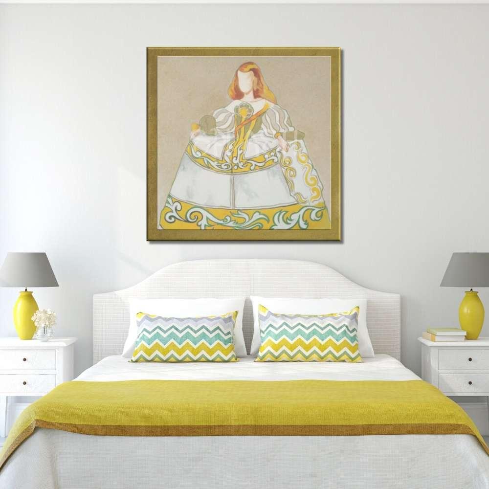 Cuadros de Meninas Modernas pintados con marco dorado en ocres y ...