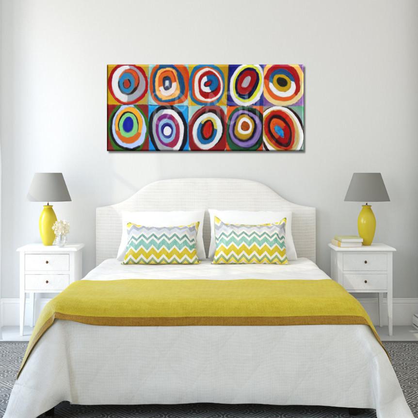 Cuadros abstractos cabecero c rculos colores kandinsky - Cuadros cabecera cama ...