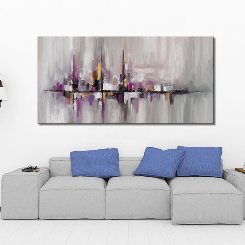 Abstraction painting in grey and mauve