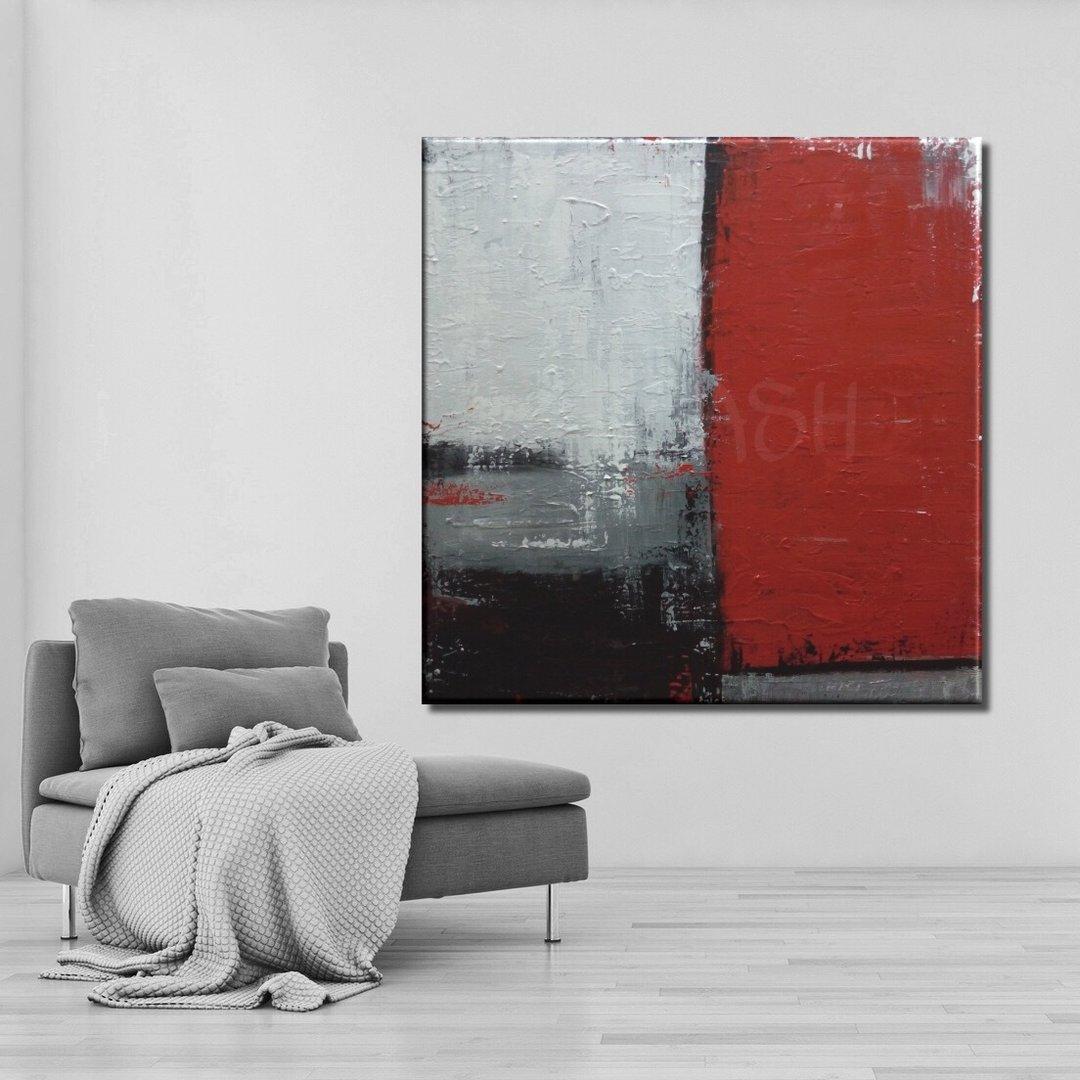 Cuadros abstractos rojos negros grises cuadrados para salon entradas dormitorios modernos tienda - Cuadros juveniles modernos ...
