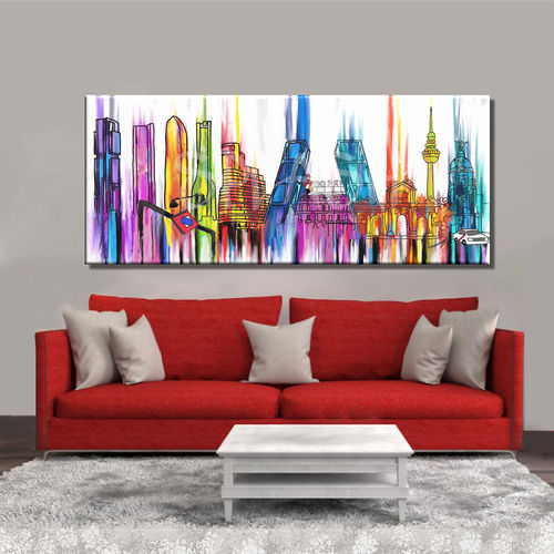 Madrid skyline painting in colours