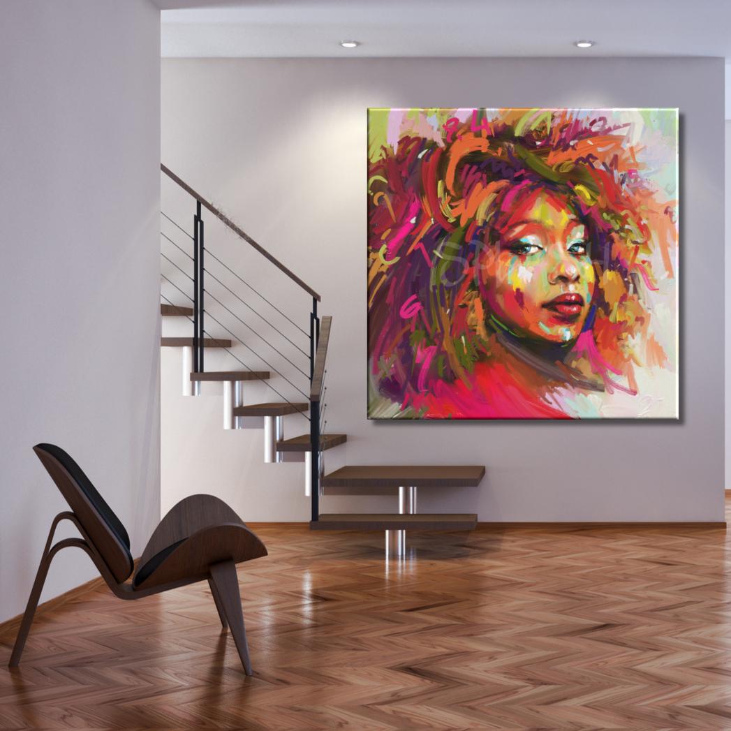 Cuadros figurativos modernos pintados cara de mujer labios pelo rizado cuadros splash salones y - Cuadros juveniles modernos ...