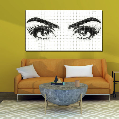 Black-and-white eyes pop art painting