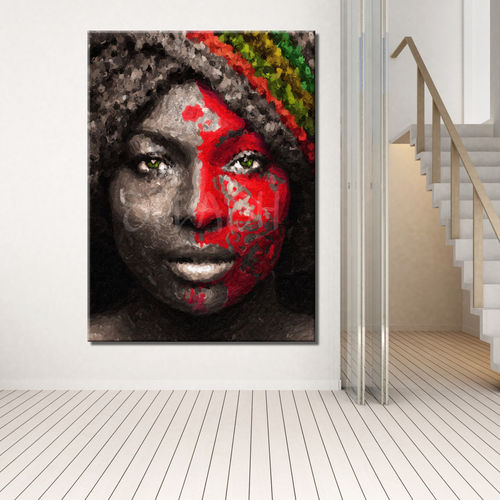 African woman figure in red
