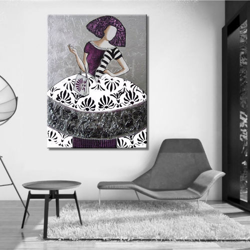 Modern menina painting with textured silver background SPA1229