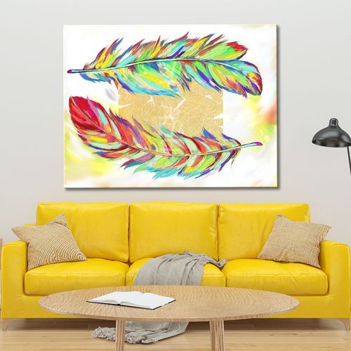 Colorful feather picture with gold leaf