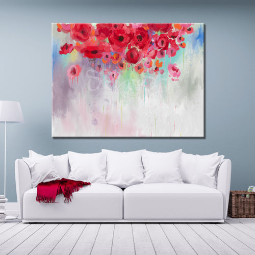 Cloud of poppies in red