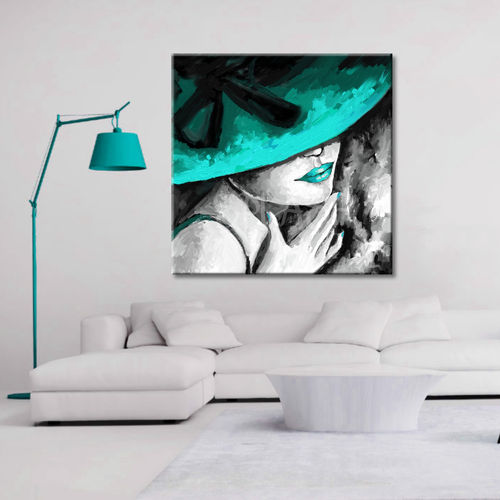 Turquoise lady painting with hat