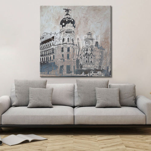 Madrid painting with sepia metropolis building