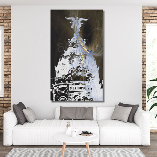 Madrid Black and White Metropolis Painting
