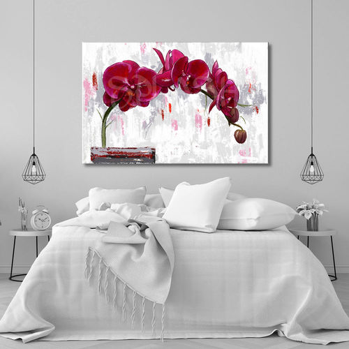 Flower painting with red orchids
