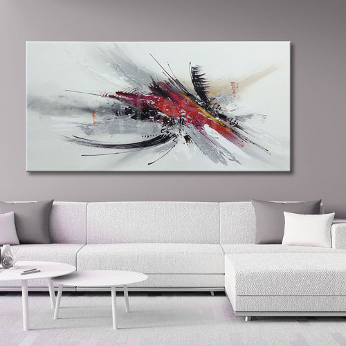 Abstract red and black burst painting
