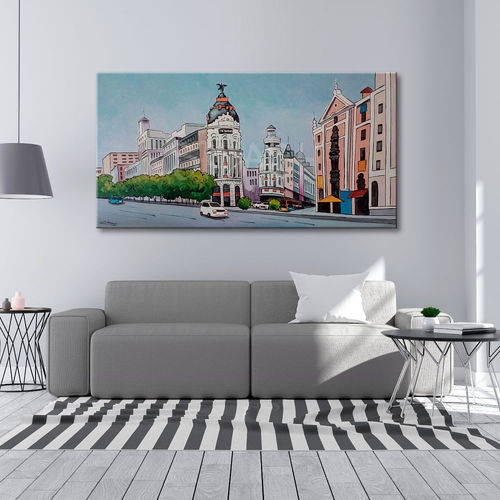 Madrid painting with Metropolis building