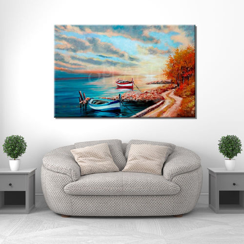 Painting of seascape sunset with boats
