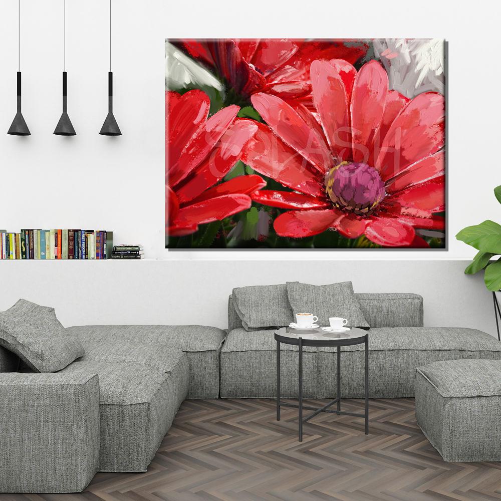 Cuadro de flores margaritas rojo pintado cuadros splash - Pintar un cuadro moderno ...