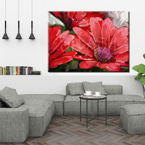 Painted red daisies flower painting