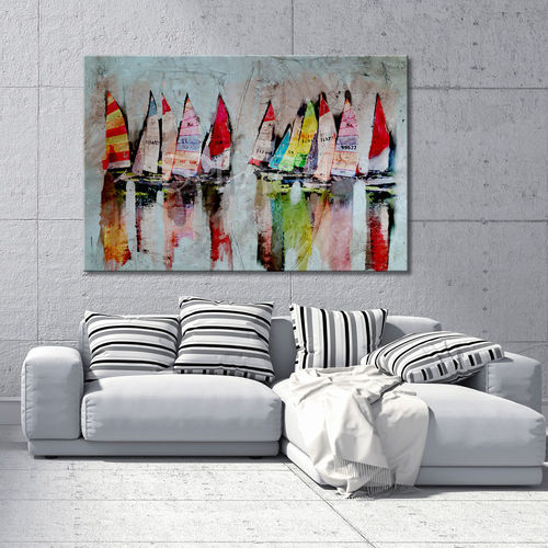 Seascape painting with painted sailboats