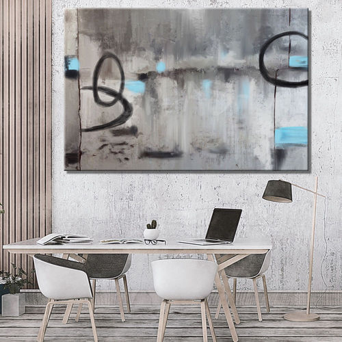 Monochrome abstract painting with blue