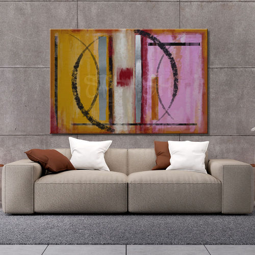 Abstract geometric painting and circles