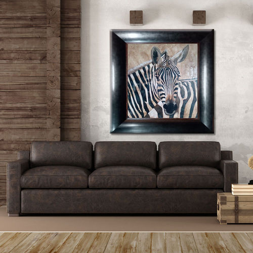 Zebra ethnic painting with wenge frame