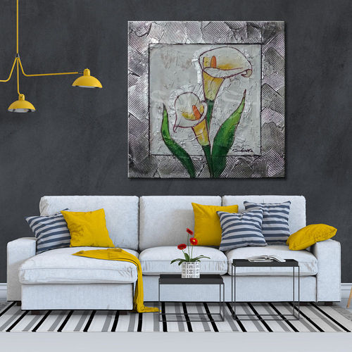 Flower painting with silver frame and calla