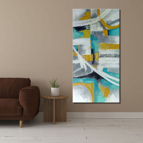 Abstract turquoise and mustard painting