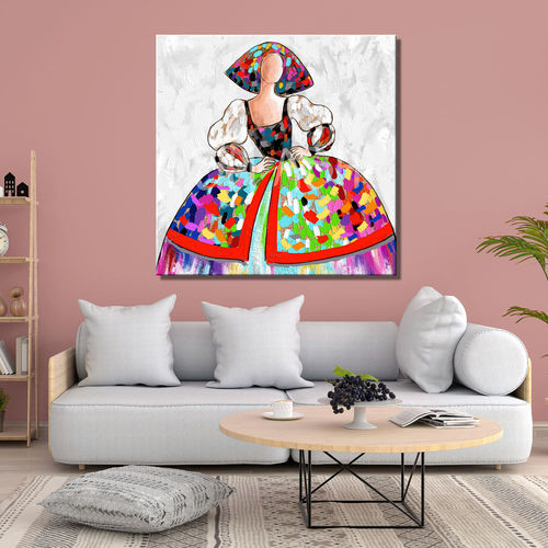 Colorful menina painting with burlap