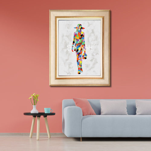 Abstract women's cream frame painting
